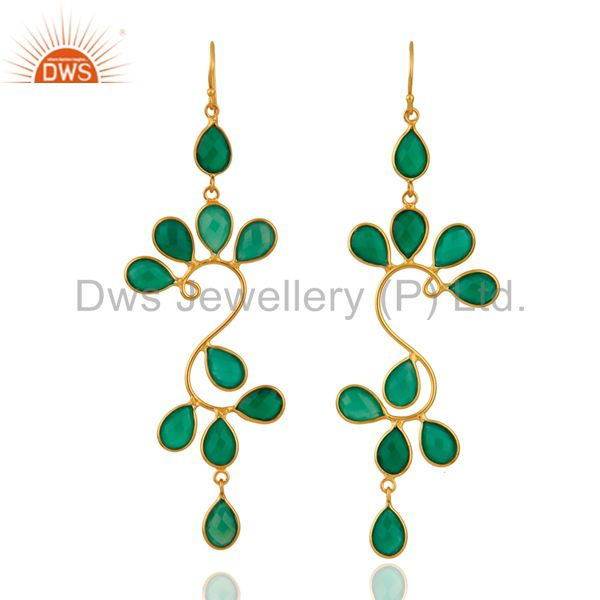 Designer 18K Yellow Gold Plated Sterling Silver Green Onyx Dangle Earrings