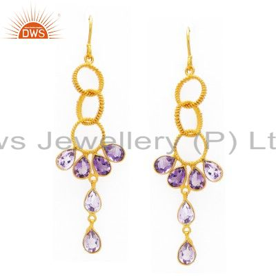 925 Sterling Silver Amethyst Gemstone Dangle Earrings With 14K Gold Plated
