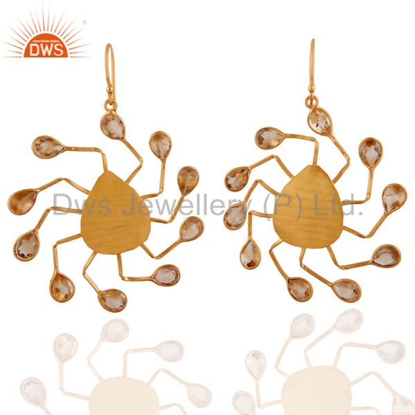 18K Yellow Gold Plated Sterling Silver Citrine Gemstone Spider Earrings
