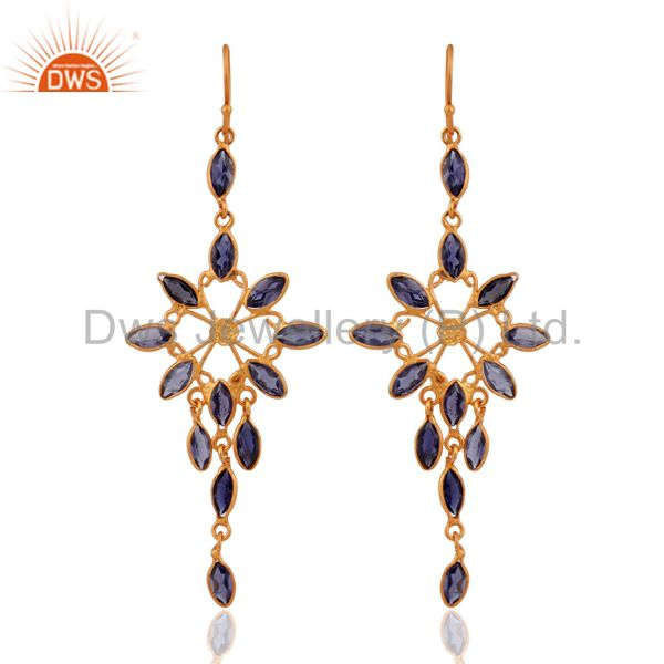 Designer 925 Sterling Silver Iolite Gemstone Dangle Earring With 18K Gold Plated