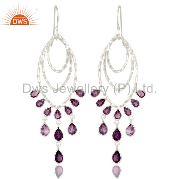 Solid 925 Sterling Silver Amethyst Gemstone Bezel Set Chandelier Earrings