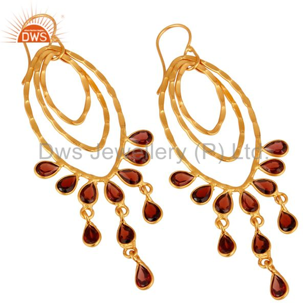 Handmade 925 Sterling Silver Garnet Gemstone Dangle Earring With Gold Plated
