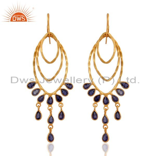 Hammered Sterling Silver Gold Plated Iolite Gemstone Designer Dangle Earrings