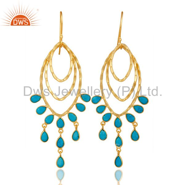 22K Gold Plated Sterling Silver Handmade Turquoise Gemstone Chandelier Earrings