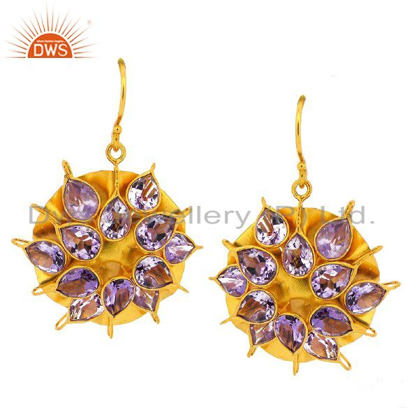 925 Sterling Silver Amethyst Designer Dangle Earrings With 18K Gold Plated