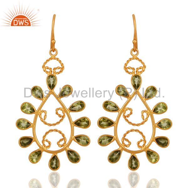 Handmade 925 Sterling Silver Peridot Gemstone Earrings With 24K Gold Plated