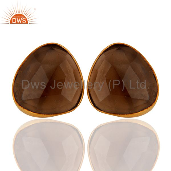 18K Yellow Gold Plated Sterling Silver Smoky Quartz Womens Stud Earrings