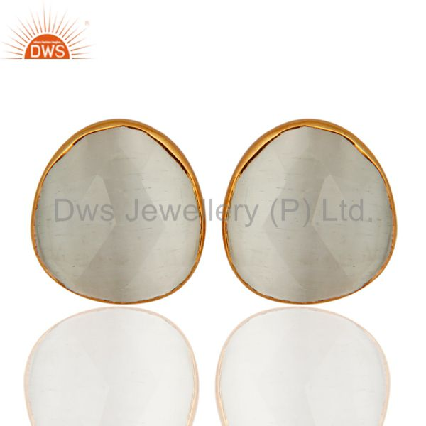 22K Gold Plated Sterling Silver Faceted White Moonstone Womens Stud Earrings