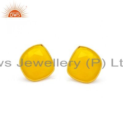 Gold Plated 925 Sterling Silver Natural Yellow Chalcedony Gemstone Stud Earring