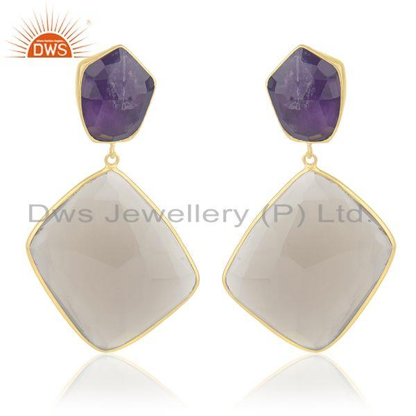 Multi Gemstone 925 Sterling Silver Gold Plated Drop Earrings Wholesale Suppliers