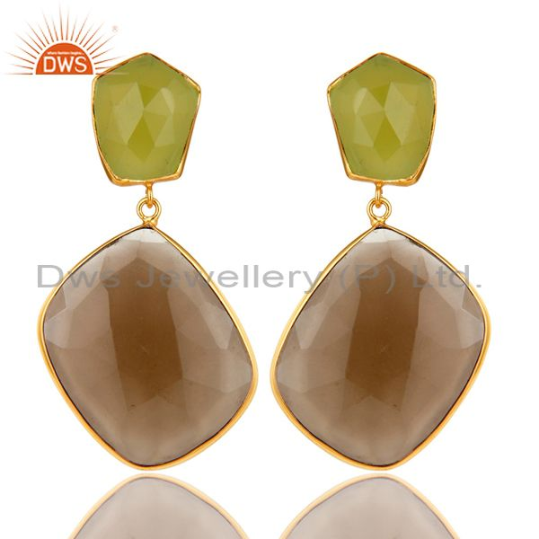14K Gold Plated Sterling Silver Green Chalcedony And Smoky Quartz Drop Earrings