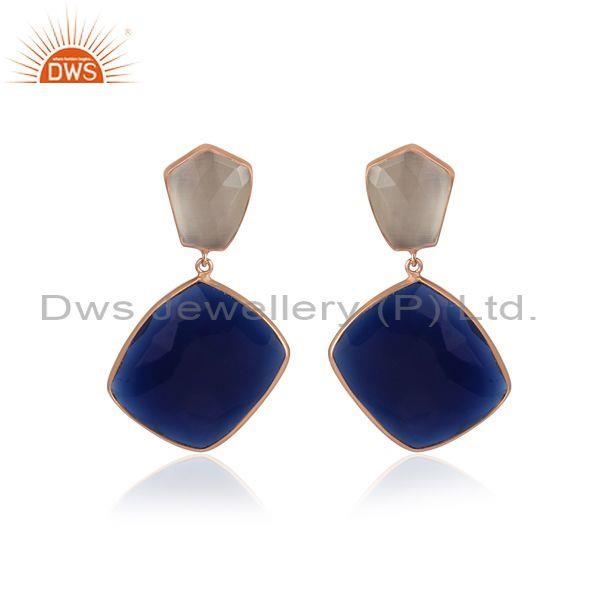Moon stone and corundum set rose gold on 925 silver earrings