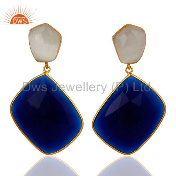18K Gold Plated Sterling Silver Blue Corundum & White Moonstone Dangle Earrings