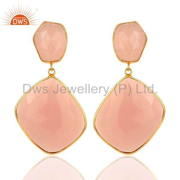 Rose Chalcedony Gemstone Gold Plated Handmade Brass Fashion Earirngs