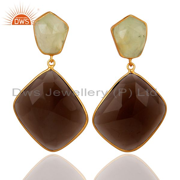 18K Yellow Gold Plated Sterling Silver Smoky Quartz Bezel Dangle Earrings