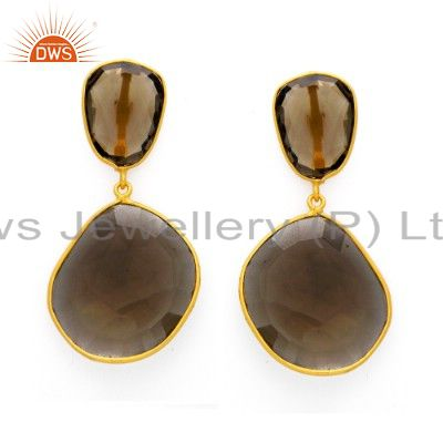 925 Sterling Silver Smoky Quartz Bezel Set Dangle Earrings With 18K Gold Plated