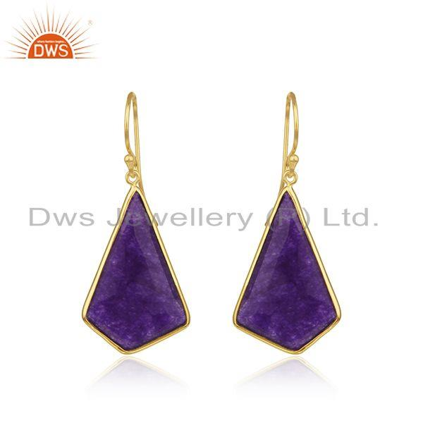 Purple Aventurine Gemstone Gold Plated 925 Silver Earrings Manufacturer