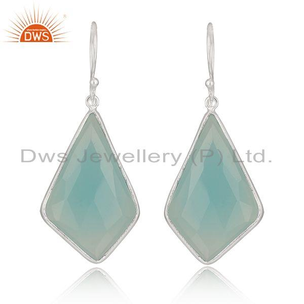 Chalcedony Gemstone Fine Sterling Silver Earrings Manufacturer India