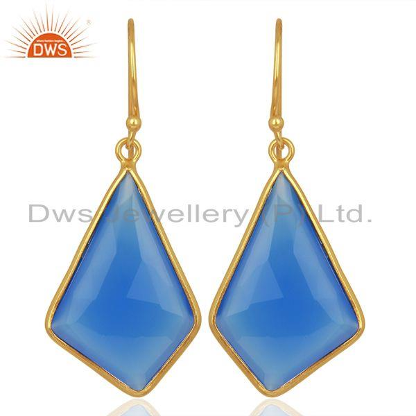 18K Gold Plated Sterling Silver Dyed Blue Chalcedony Bezel Set Dangle Earrings