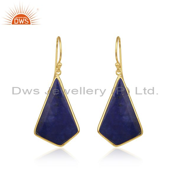 Lapis Lazuli Gemstone Gold Plated 925 Silver Drop Earrings Suppliers