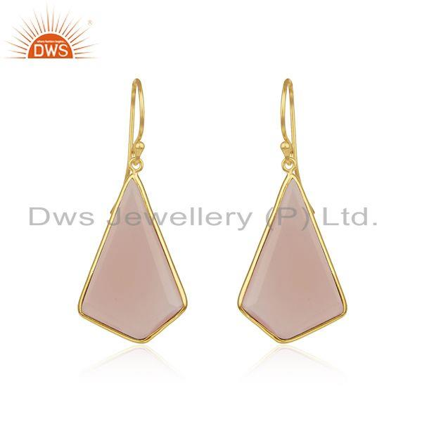 Rose Chalcedony Gemstone Gold Plated 925 Silver Earrings Wholesaler