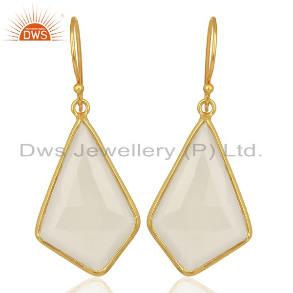Dyed White Chalcedony Bezel Set Sterling Silver 18K Gold Plated Dangle Earrings