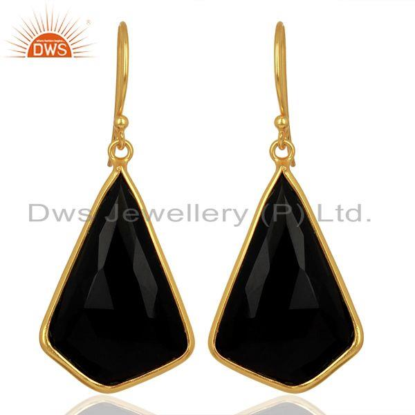 Black Onyx Bezel Set Sterling Silver 18K Gold Plated Dangle Earrings