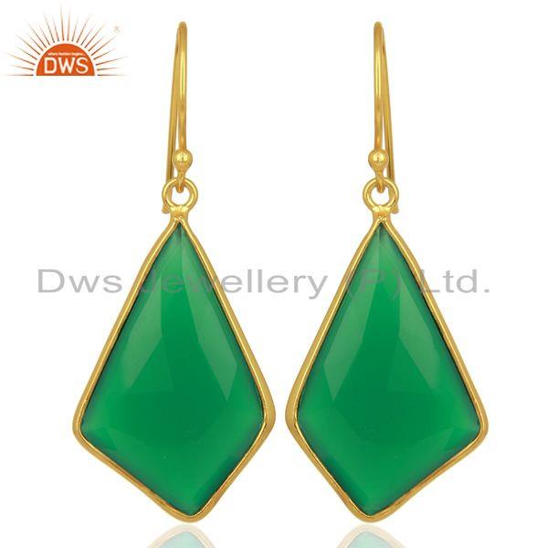 Green Onyx Bezel Set 925 Sterling Silver 18K Gold Plated Dangle Earrings