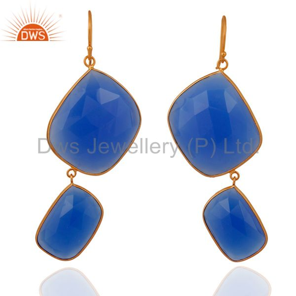 Natural Faceted Gemstone Blue Chalcedony 18k Gold Over Sterling Silver Earrings