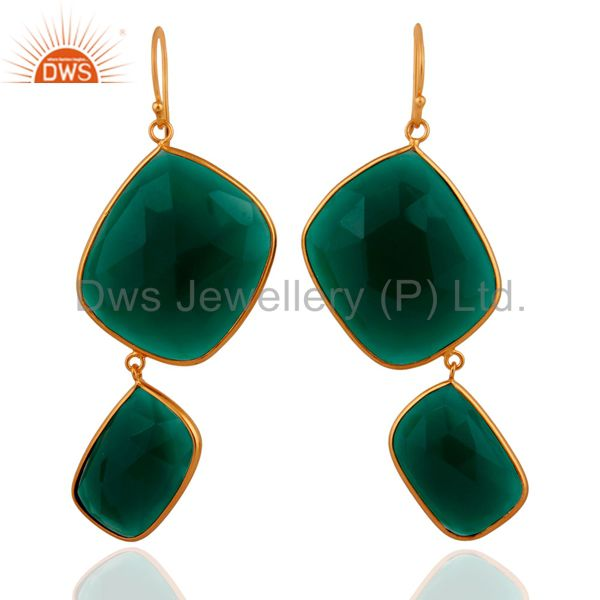 18k Yellow Gold Plated Sterling SIlver Abstract Green Onyx Gemstone Earrings