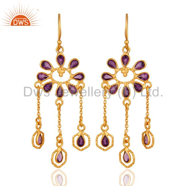 Handmade Sterling Silver Amethyst Gemstone Chandelier Earrings With 18K Plated