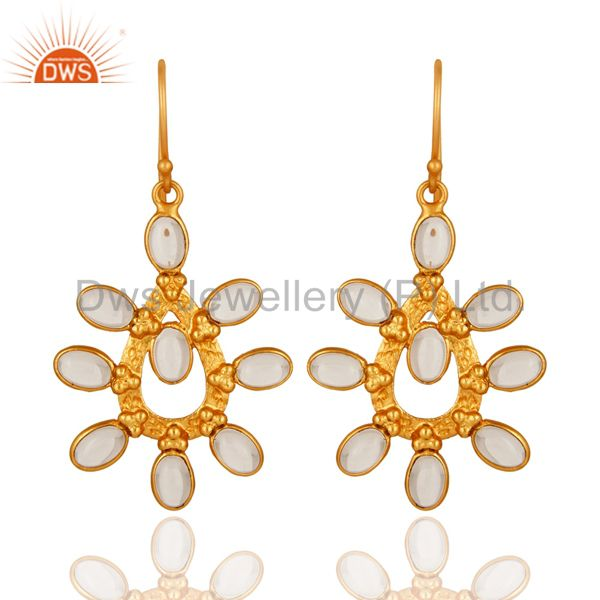 Handmade Crystal Quartz 14K Yellow Gold Plated Over Brass Fashion Earrings