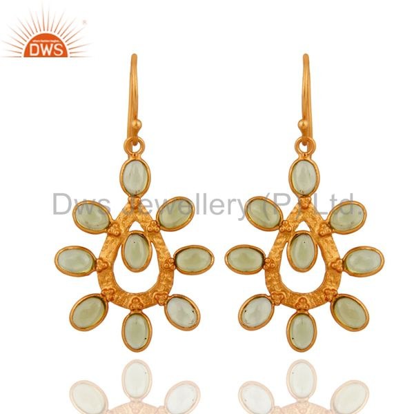 Natural Cabochon Gemstone Peridot Earring Gold Plated Sterling Silver Jewelry