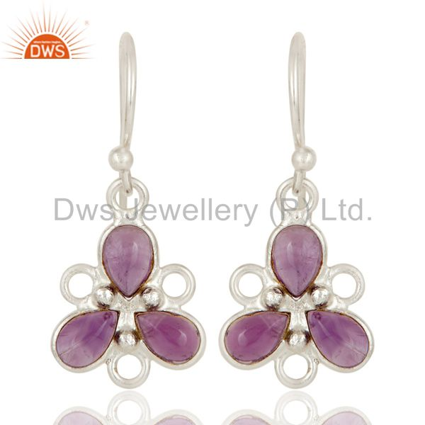 Solid 925 Sterling Silver Amethyst Handmade Bezel Set Earrings Jewellery