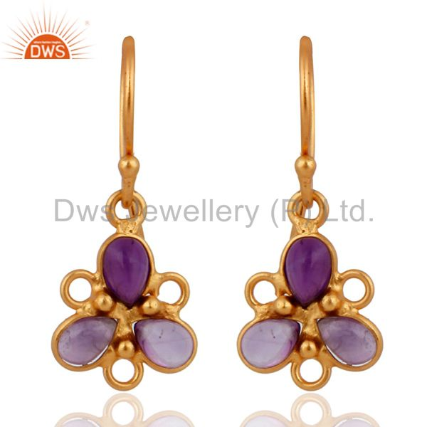 24K Gold Plated Classic Sterling Silver Amethyst Handmade Earrings Jewelry