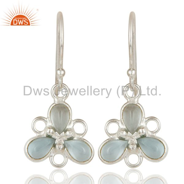 Solid 925 Sterling Silver Blue Topaz Gemstone Bezel Set Earrings Jewellery