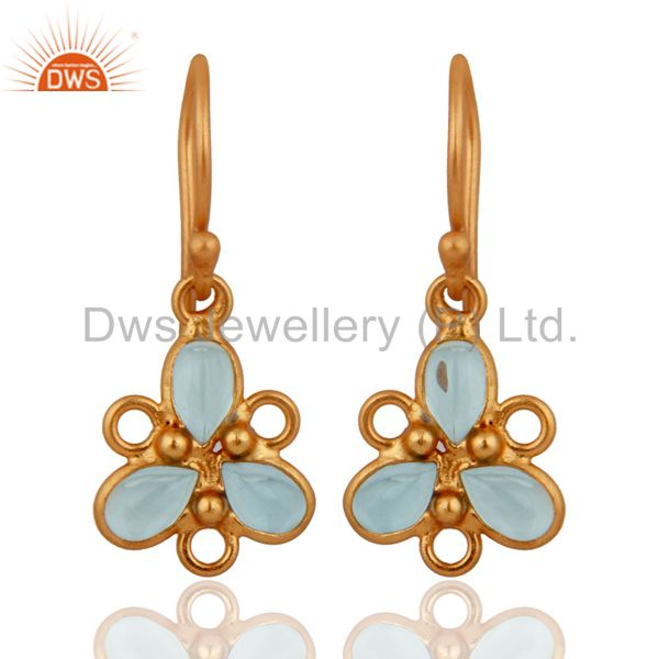 Gold Plated 925 Sterling Silver Gemstone Blue Topaz Wedding Party Hook Earrings