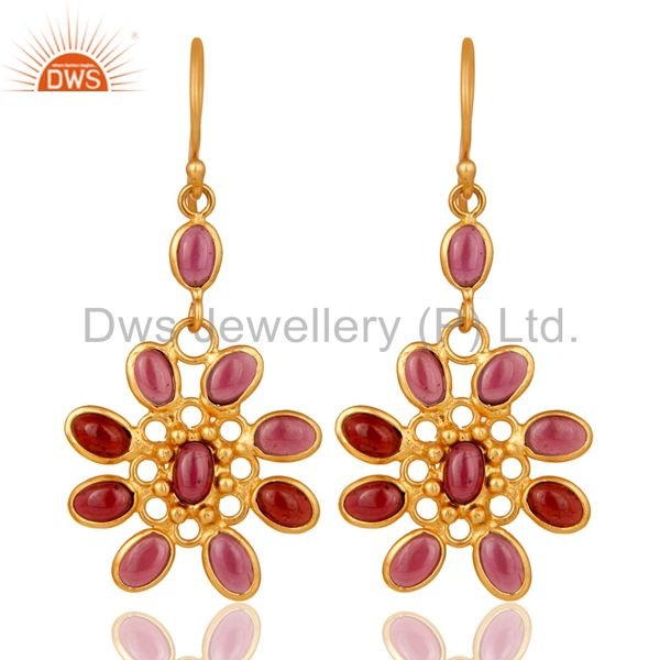 Handmade 925 Sterling Silver Garnet 22k Gold Plated Designer Gemstone Earrings