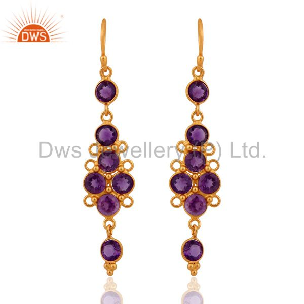 Gold Plated Sterling Silver Amethyst Gemstone Fashionable Long Dangle Earrings