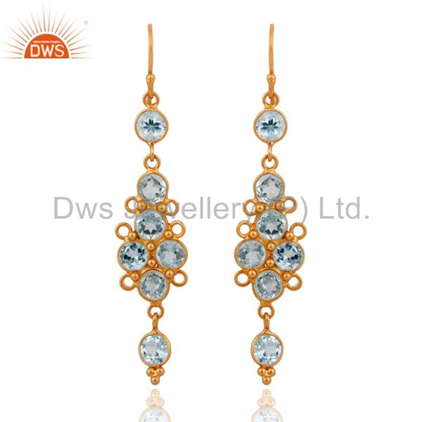 Designer Blue Topaz Gemstone Earrings in 22k Gold Plated On 925 Sterling Silver