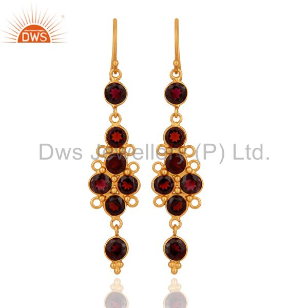 Natural Garnet Gemstone Earring Made In 22k Gold Over Sterling Silver Jewelry