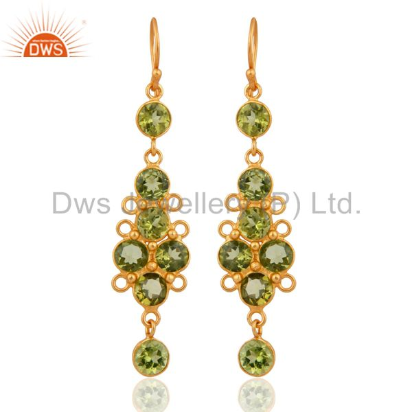 18K Gold Plated Sterling Silver Natural Peridot Gemstone Ladies Dangle Earrings