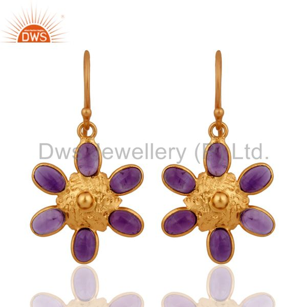 Natural Amethyst Gemstone Earrings Made in Gold Plated Sterling Silver Jewelry
