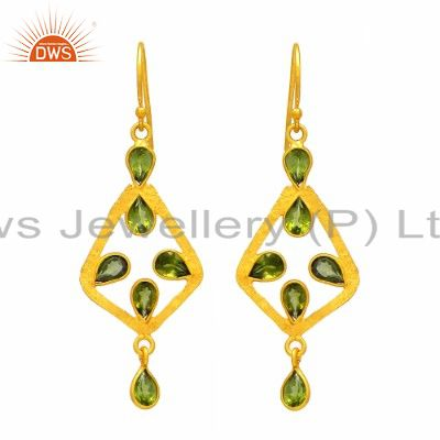 Handmade Sterling Silver Peridot Gemstone Dangle Earrings With 18K Gold Plated