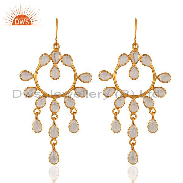 Shine Gold Plated 925 Sterling Silver Crystal Quartz Gemstone Earring