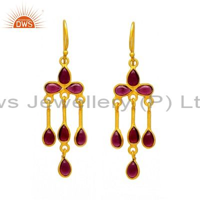Gold Plated Garnet 925 Sterling Silver Earring Natural Gemstone Jewelry