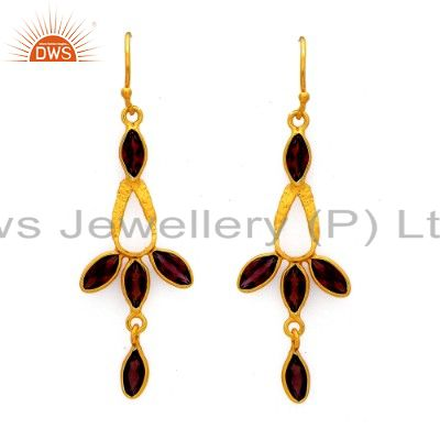 Handmade Sterling Silver Garnet Gemstone Dangle Earrings With 18K Gold Plated