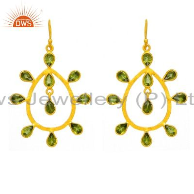 925 Sterling Silver Peridot Gemstone Dangle Earrings With 18K Gold Plated