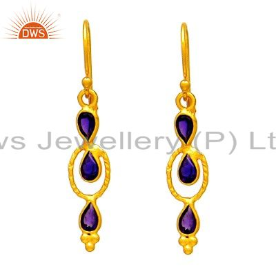 925 Sterling Silver Amethyst Gemstone Dangle Earrings With 22K Gold Plated