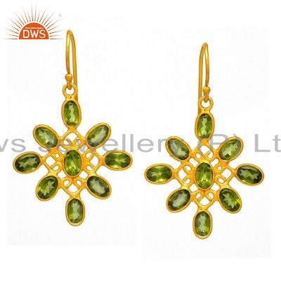 Natural Peridot Gemstone Designer Earrings Made In 22K Gold Over Sterling Silver